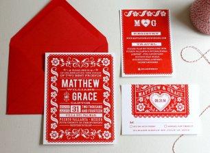 Red and white wedding invitation - www.etsy.com/shop/deaandbean