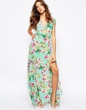 Yumi Kim Plunge Neck Silk Maxi Dress In Ombre Floral Print - asos.com