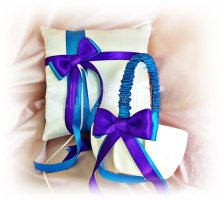 Purple and turquoise flower girl basket and ring pillow - www.etsy.com/shop/All4Brides