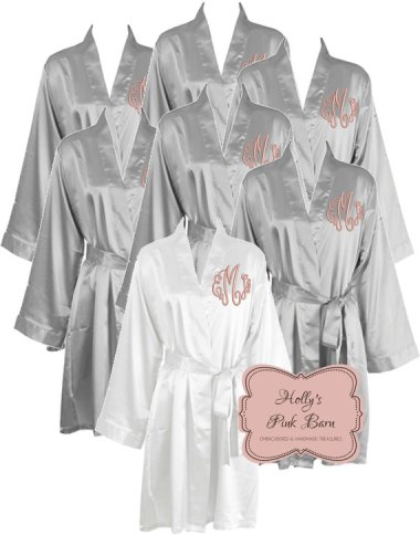 Bridesmaid monogrammed grey and blush robes - www.etsy.com/shop/HollysPinkBarn