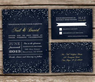 Midnight blue starry night wedding invitation - www.etsy.com/shop/chitrap