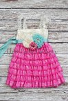 Pink and aqua flower girl dress - www.etsy.com/shop/GlamGirlyBoutique