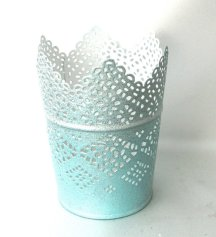 Light blue metal candle holder - www.etsy.com/shop/TrayChicParty