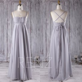 grey chiffon bridesmaid dress - www.etsy.com/shop/renzrags
