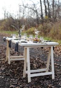 DIY Sawhorse Leg Plywood Table - The Merrythought