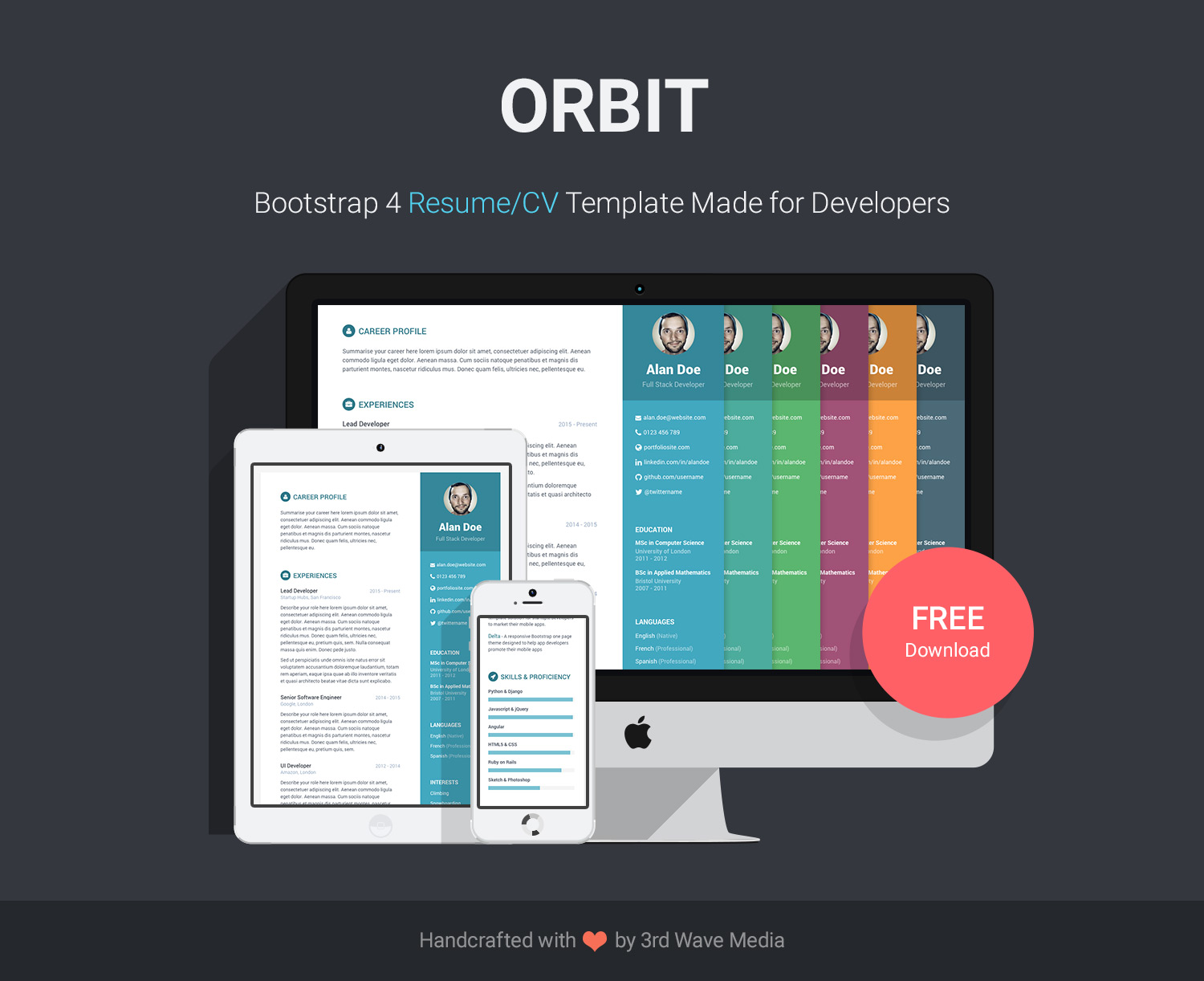 Wordpress Resume Themes Free Bootstrap Resume Cv Template For Developers Orbit
