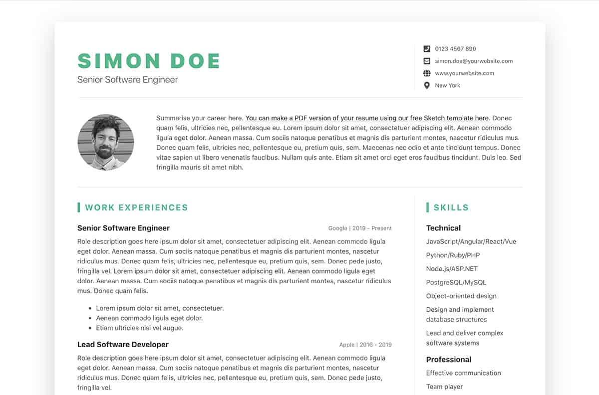 simple bootstrap resume template free