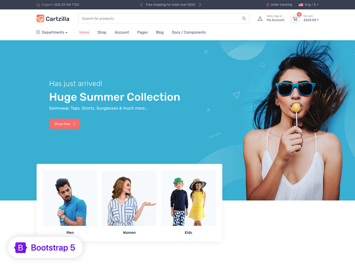 It features 4 home pages and uses html5, css3 code. Cartzilla Multipurpose Ecommerce Template Bootstrap Themes