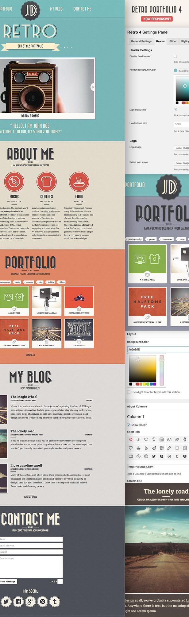 Retro One Page WordPress Theme