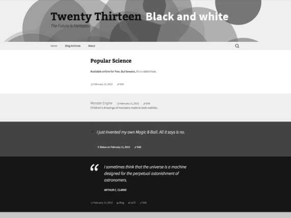 2013 Black and white wordpress theme