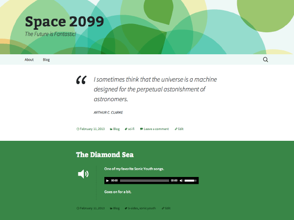 2013 Green Sequence free wordpress theme