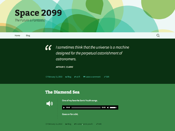2013 Green free wordpress theme
