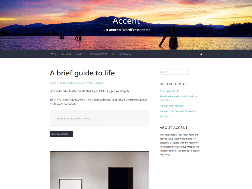 Accent free wordpress theme