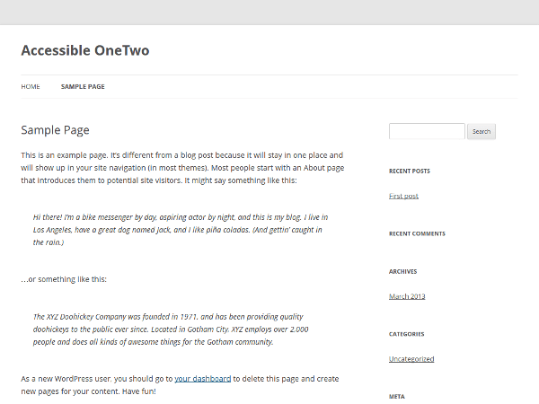 Accessible OneTwo theme wordpress gratuit