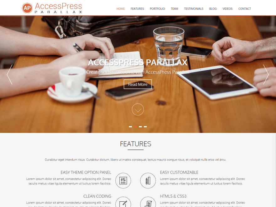 Accesspress Parallax wordpress theme