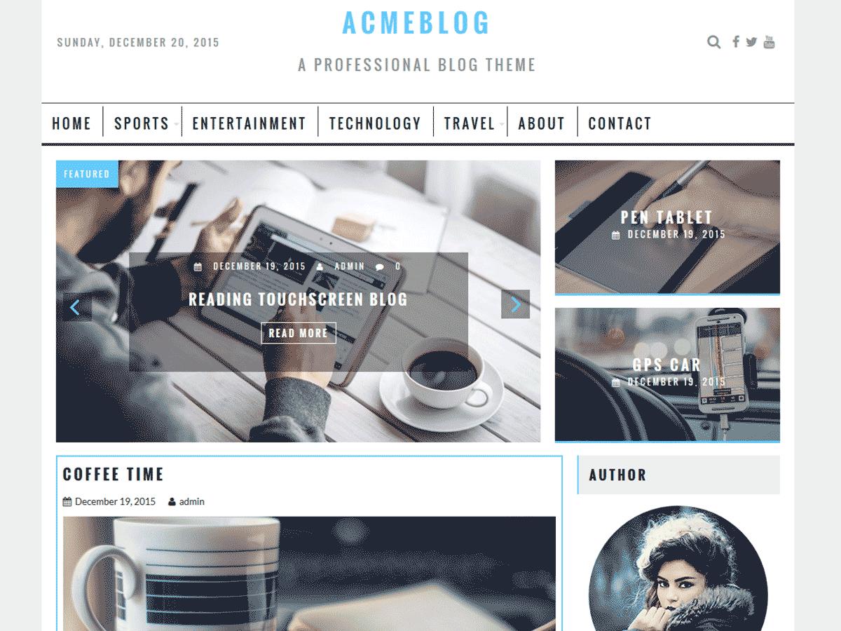AcmeBlog free wordpress theme