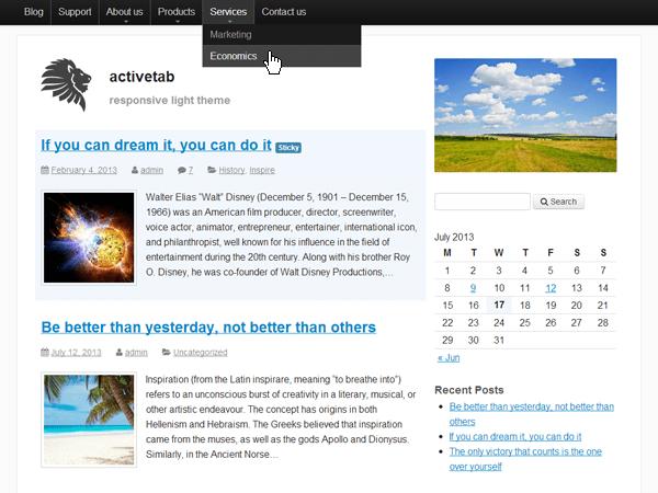 activetab free wordpress theme