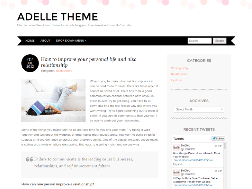 Adelle free wordpress theme