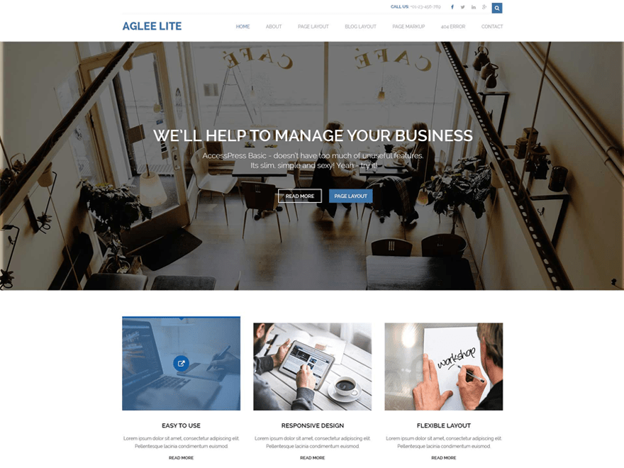 Aglee Lite free wordpress theme