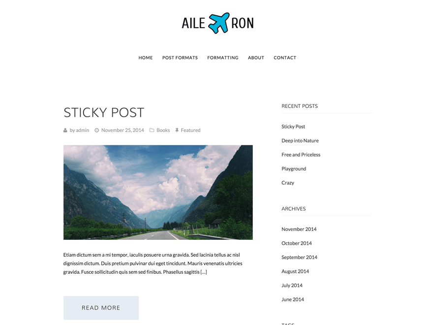 Aileron free wordpress theme