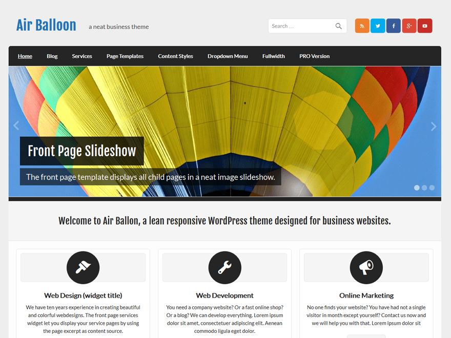 Air Balloon Lite wordpress theme