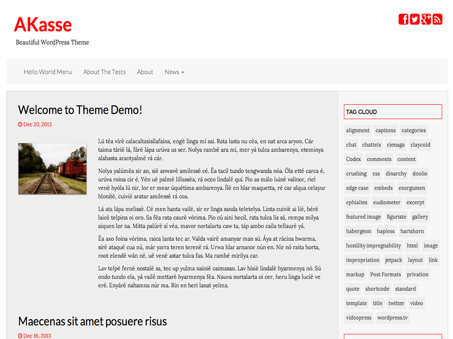 Akasse free wordpress theme