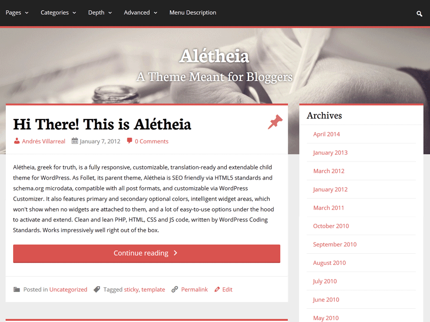 Aletheia wordpress theme