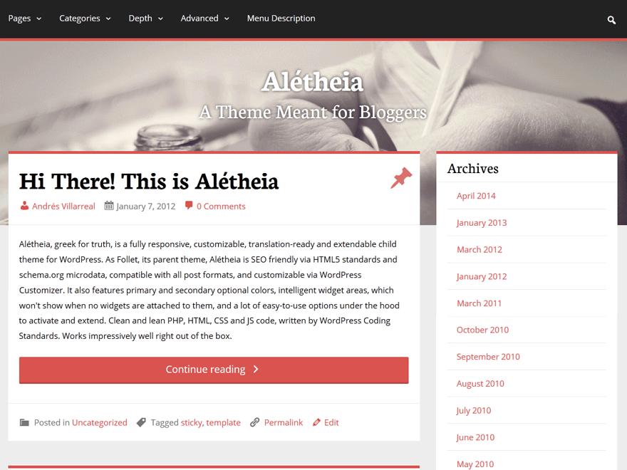 Aletheia theme wordpress gratuit