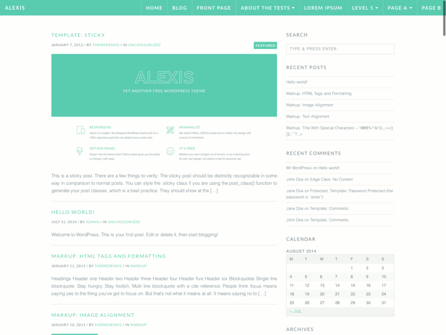 Alexis free wordpress theme