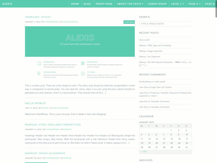 Alexis wordpress theme
