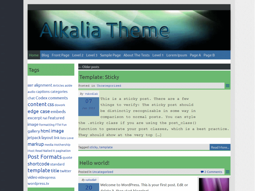 Alkalia free wordpress theme