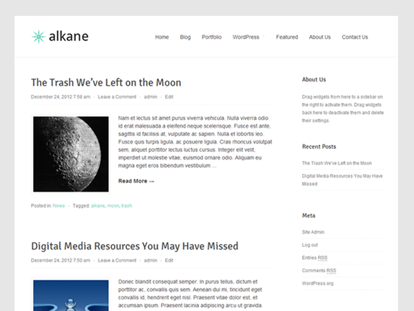 Alkane free wordpress theme
