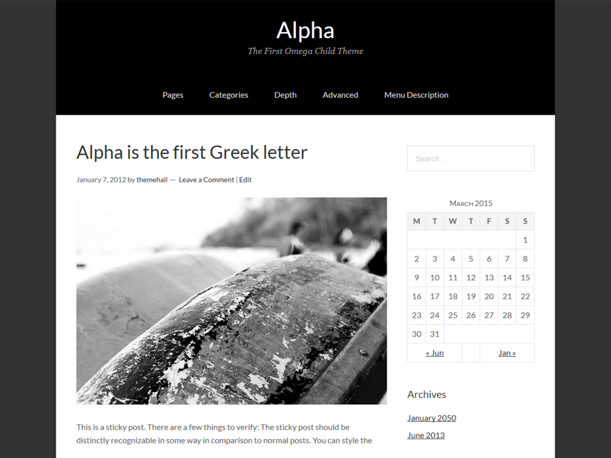 Alpha free wordpress theme