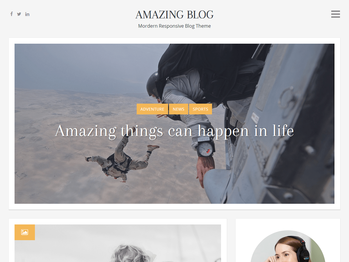 Amazing Blog free wordpress theme