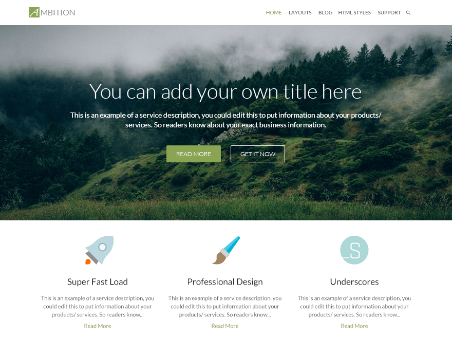 Ambition free wordpress theme