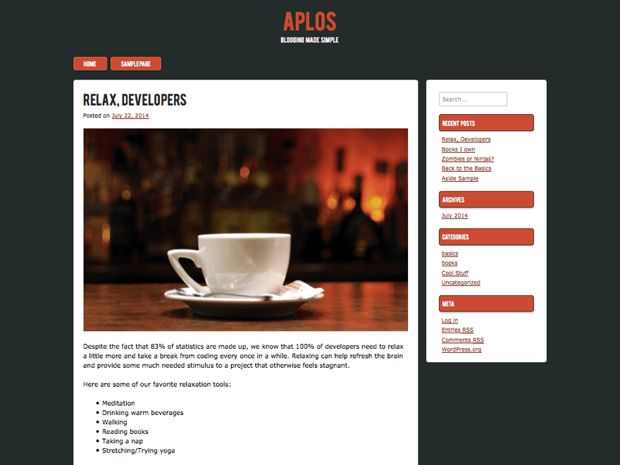 Aplos free wordpress theme