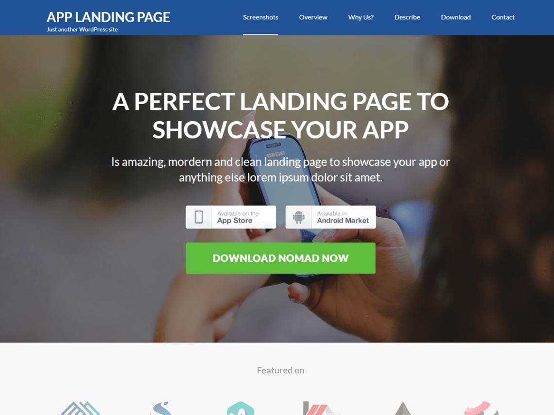 Plantilla para landing page de descarga de apps.
