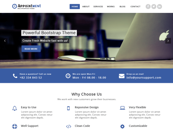 Appointment Blue wordpress theme
