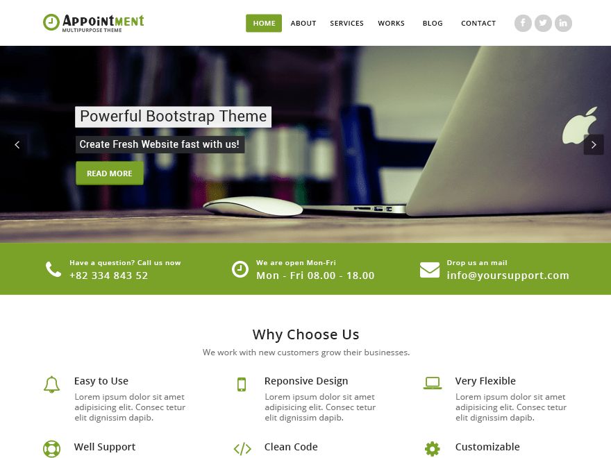 Appointment Green free wordpress theme