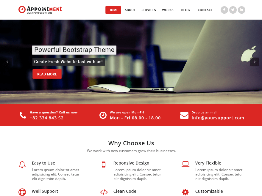 Appointment red free wordpress themes a business theme which is ideal for creating a corporate business website appointment red theme is a child theme of appointment theme and is the red pronofoot35fo Gallery