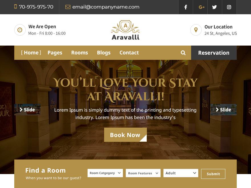 Aravalli : Free WordPress Hotel Theme