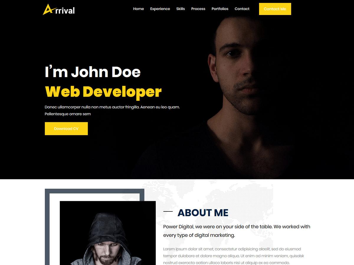 Arrival Me-Personal Portfolio Free WordPress Theme