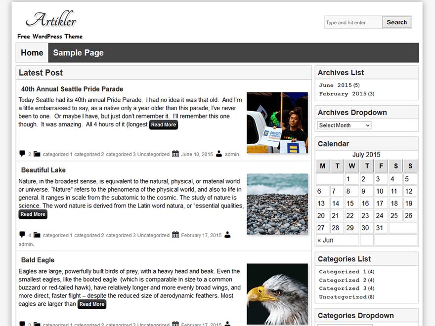 Artikler free wordpress theme