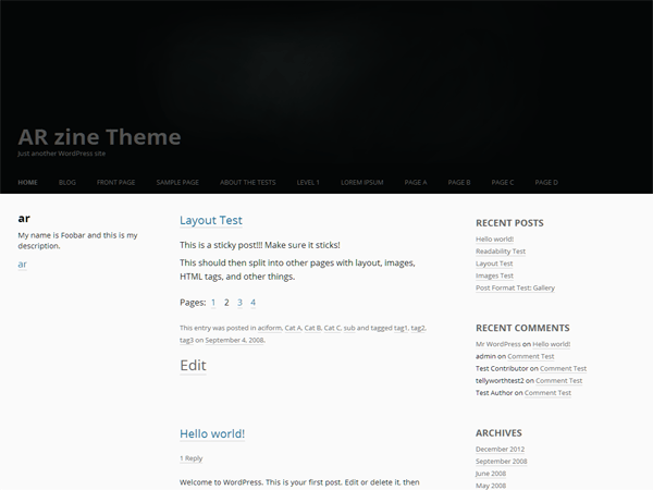 arzine free wordpress theme