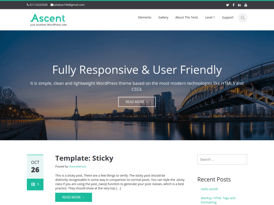 Ascent free wordpress theme