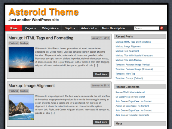 Asteroid wordpress theme