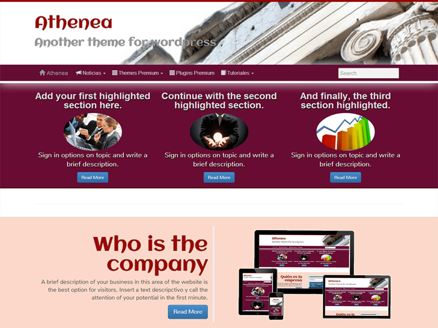 Athenea free wordpress theme