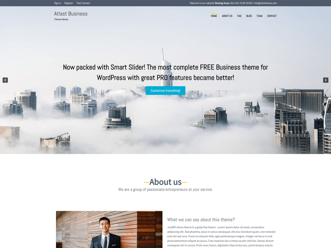 Atlast business wordpress atlast business theme now full compatible with the smart slider 3 plugin contains over 35 customizer settings one click demo content installation flashek Choice Image