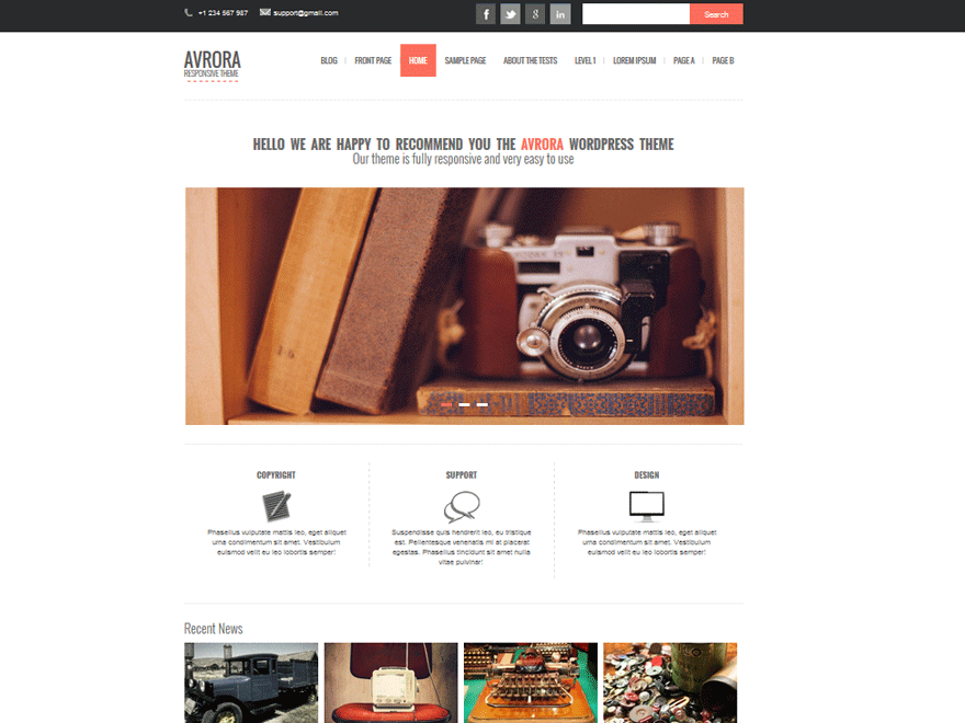 Avrora wordpress theme
