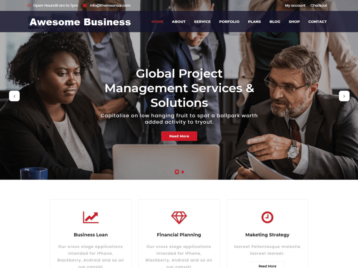 Awesome business wordpress awesome business wordpress theme ideal for a business or blog website corporate consulting advisor agency finance consult law photography friedricerecipe Image collections